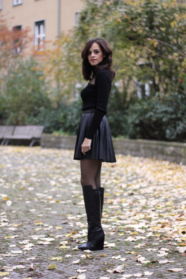 Tulle Turtle Neck, Pleated Leather Skirt and High Cut Boots - Les ...
