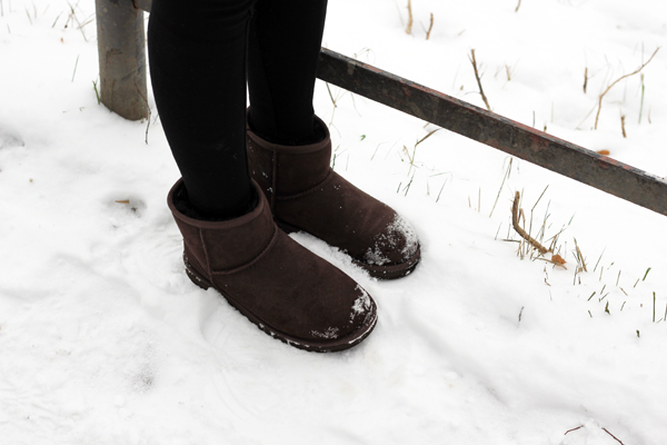 winter outfit with low Ugg boots