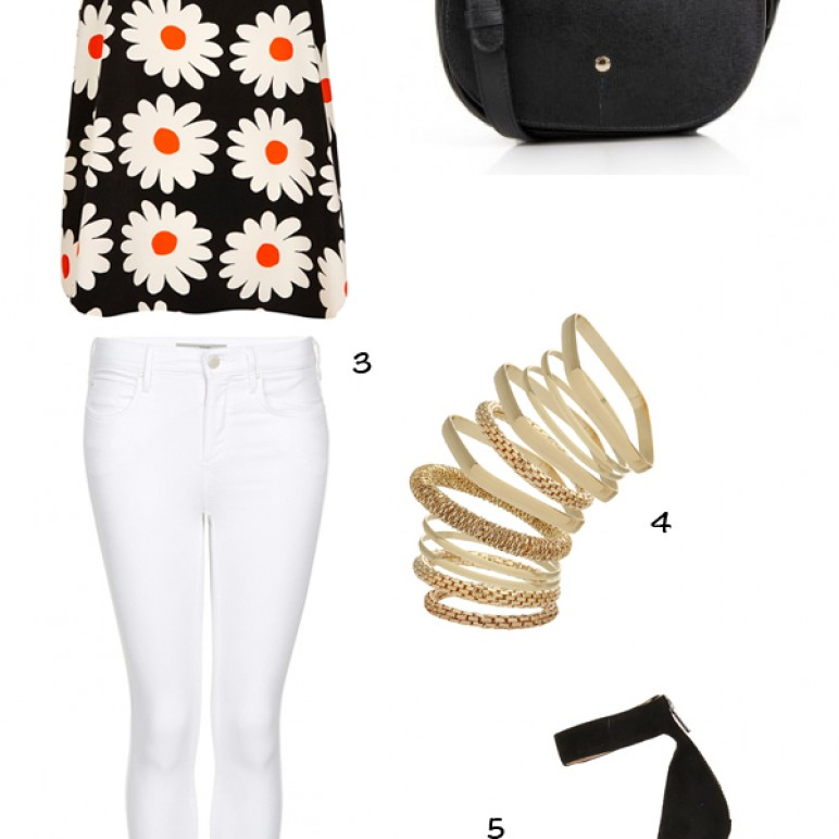 Outfit Inspiration : Daisy top, White jeans and Furla Arianna Bag