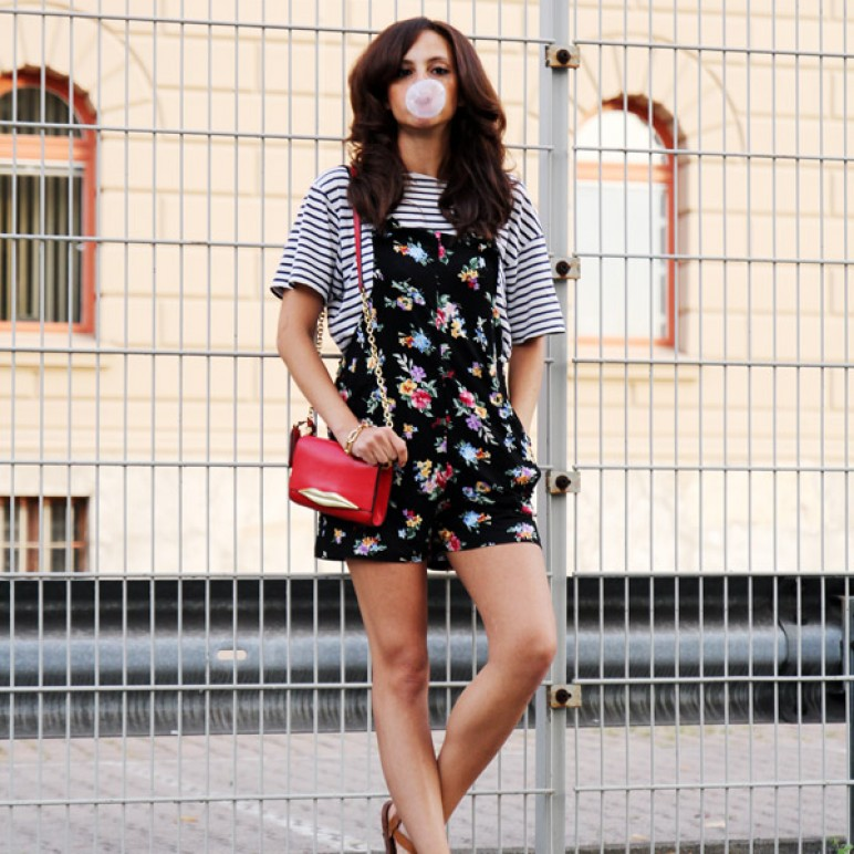 Striped Shirt & Jumpsuit with Floral Print
