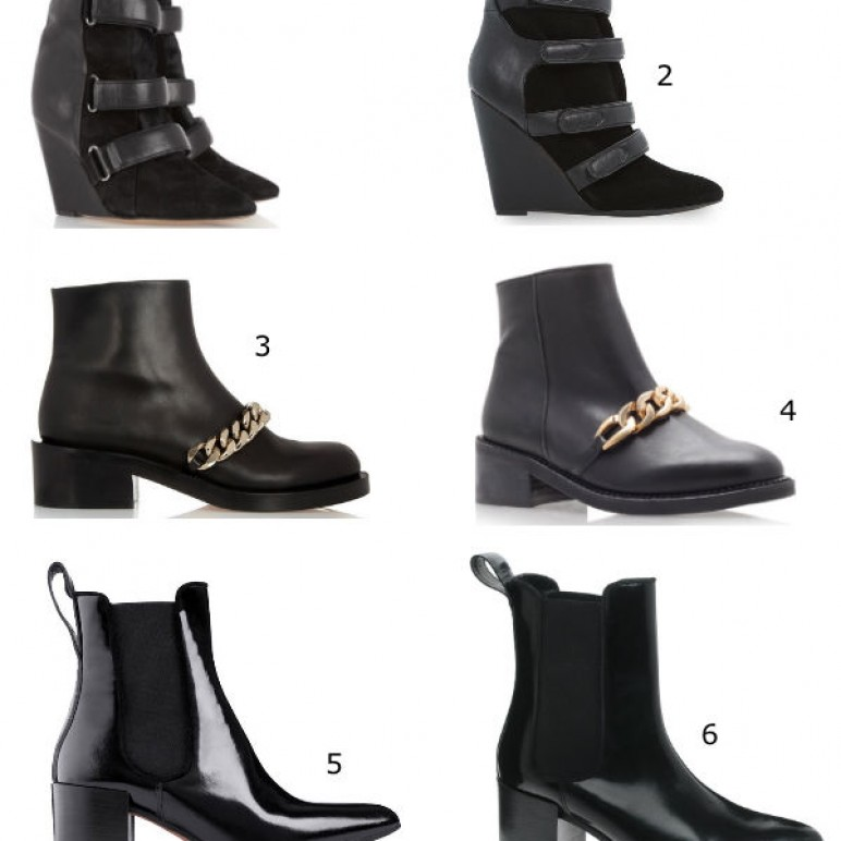 A budget version of Fall 2013 It Shoes : Acne Free, Isabel Marant Scarlet and Givenchy Chain Strap Chelsea boots