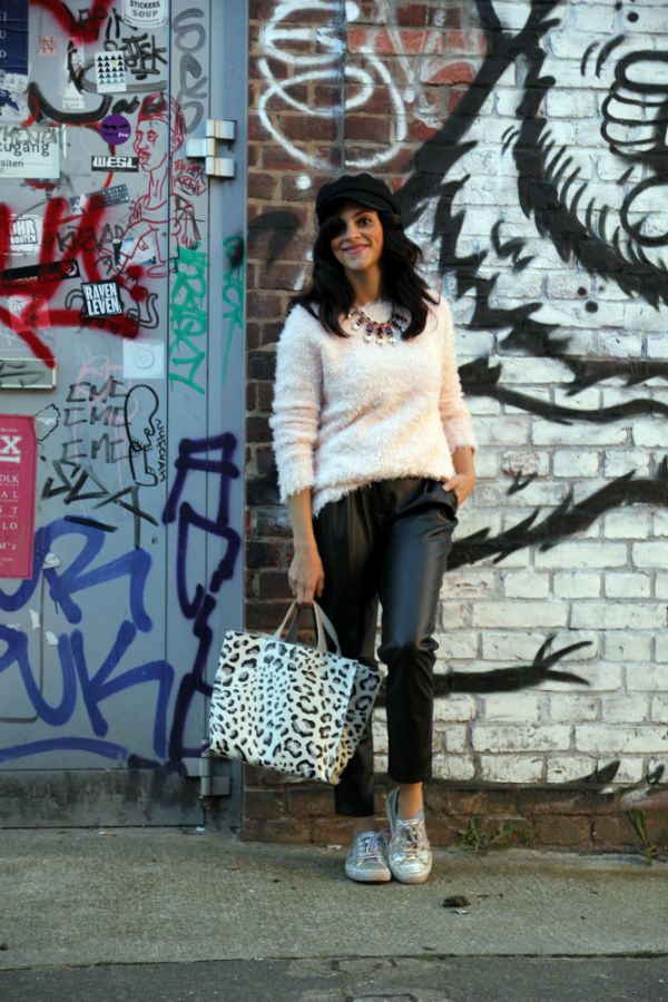furla-leopard-bag-officer-cap-slouchy-leather-pants-outfit