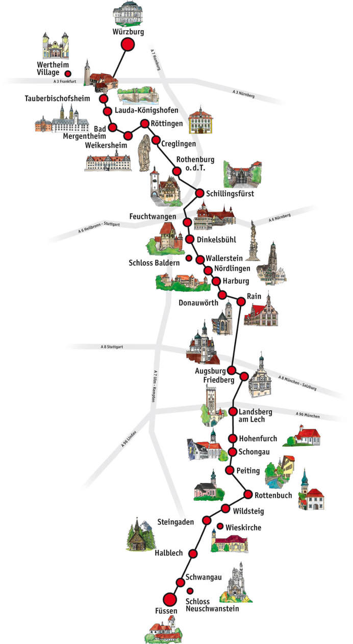 map romantic road itinerary germany road trip