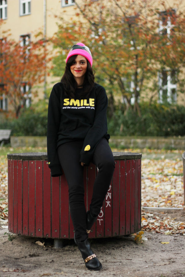 Outfit : Saint Noir Beanie and Smiley X Pony Sweater