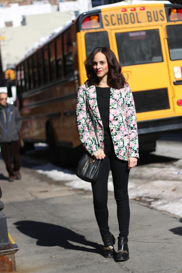 NYC Outfit : American Retro Flower Print Blazer