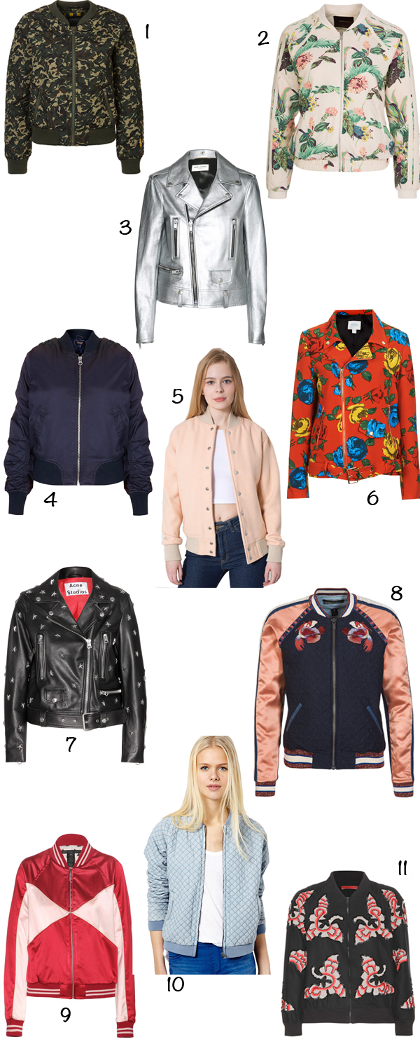 spring summer 2014 bomber biker jacket saint laurent metallic wool club american apparel pink mock stud acne leather whed satin marc by marc jacobs alice olivia felisa maison scotch