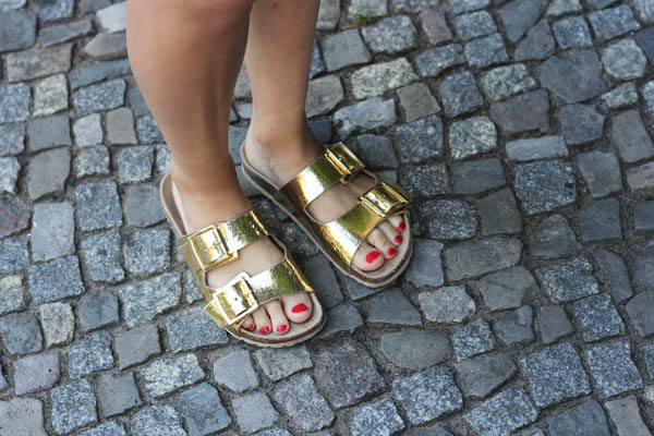 river island double strap birkenstock look alike sandals gold