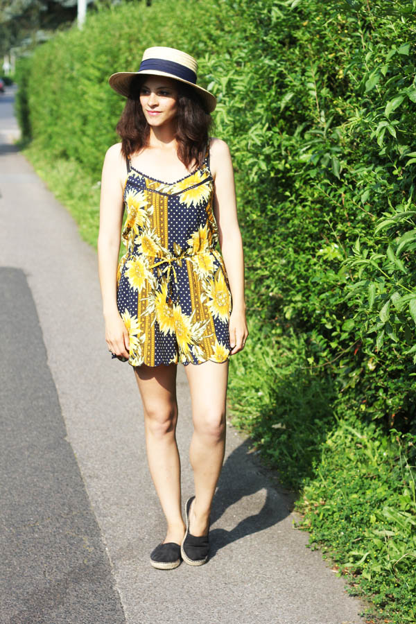 amandine fashion blogger berlin germany topshop wide brim hat with ribbon sunflowers printed jumpsuit outfit ootd