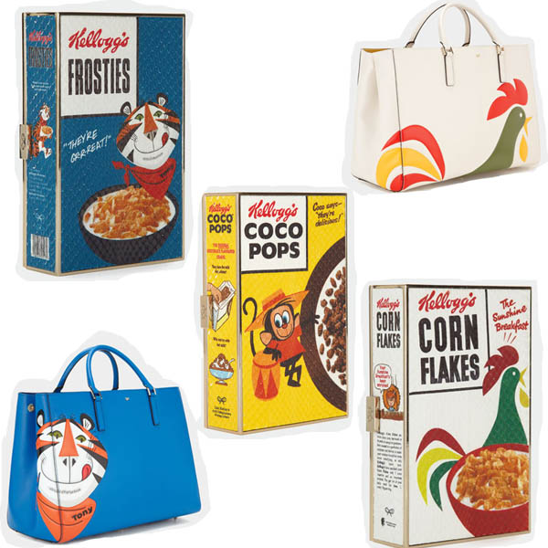 anya hindmarch kelloggs frosties maxi featherweight ebury cornflakes coco pops imperial clutch bags