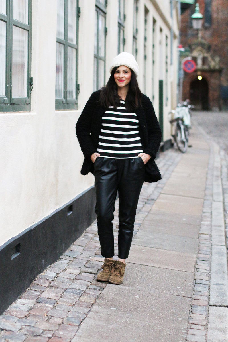 amandine fashion blogger berlin germany vila sweatshirt striped black white leather peg trouser and bobby sneakers isabel marant