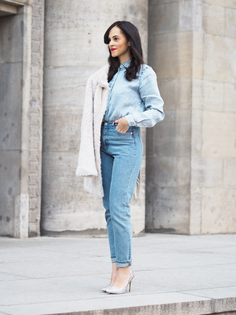 all denim look outfit mom jeans monki washed out denim shirt vila glitter pumps primark faux fur guess