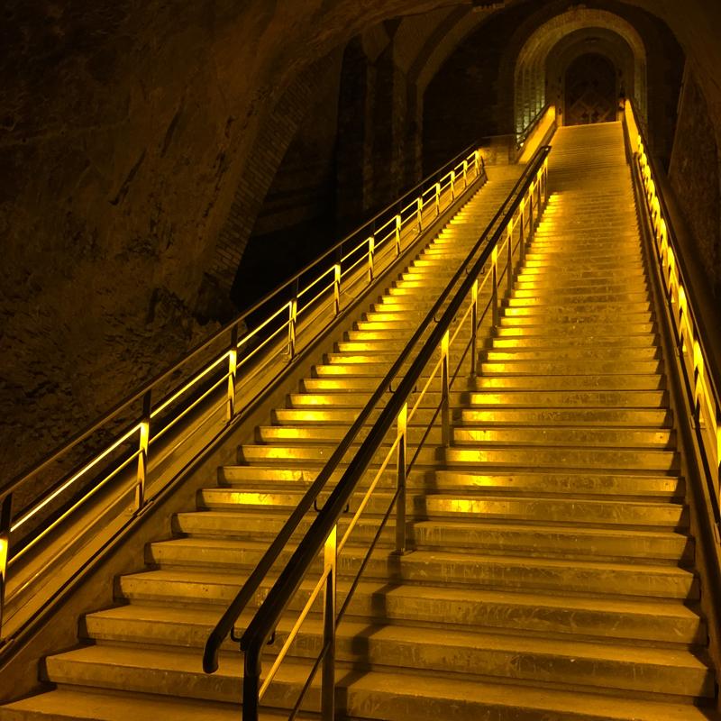 stairs in veuve clicquot cellars reims