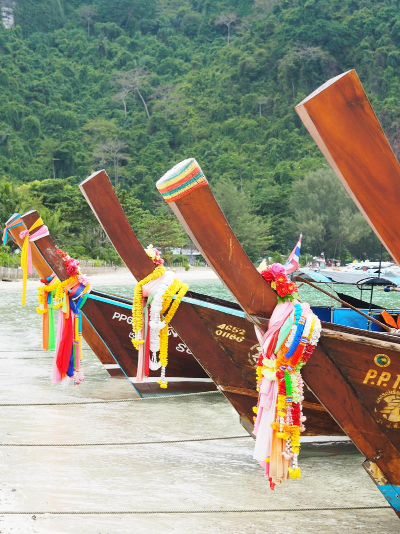 long tail boat Loh Dalum Beach Koh Phi Phi Island