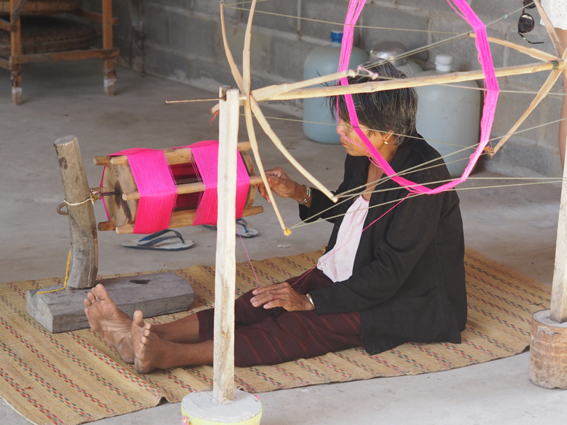 Thai silk process Surin Thailand