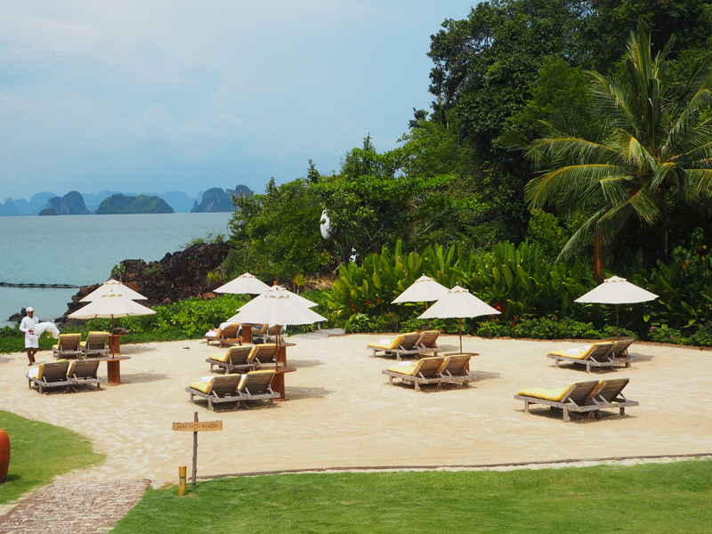 private beach sundeck over view phang nga bay at six senses koh yao noi luxury resort hotel
