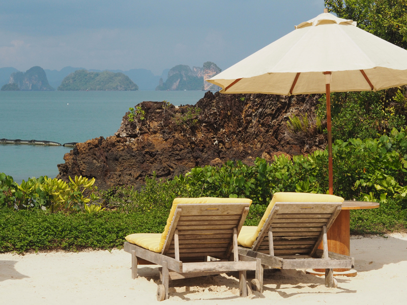 sundeck over view phang nga bay at six senses koh yao noi luxury resort hotel private beach
