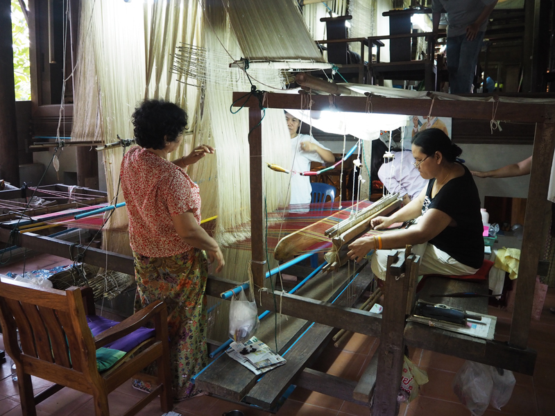 Ban Tha Sawang village Silk woven on a traditional hand operated loom