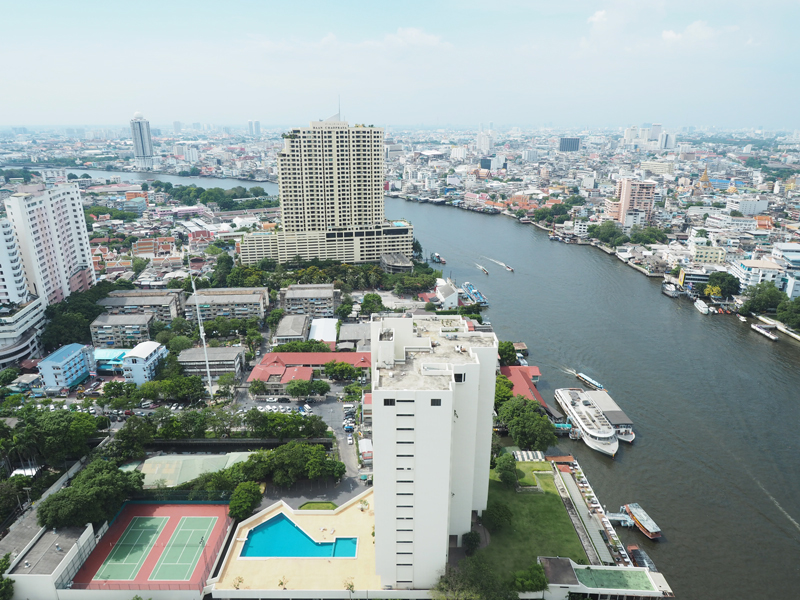 view skyline and Chaya river from Millennium Hilton Hotel Bangkok