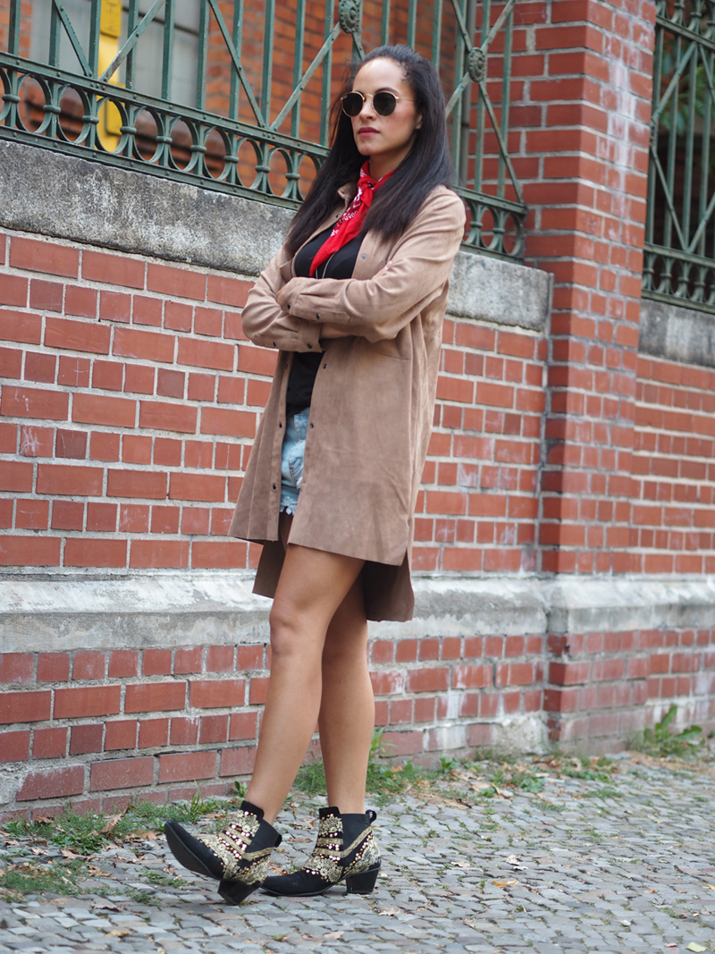 outfit suede shirt h&m