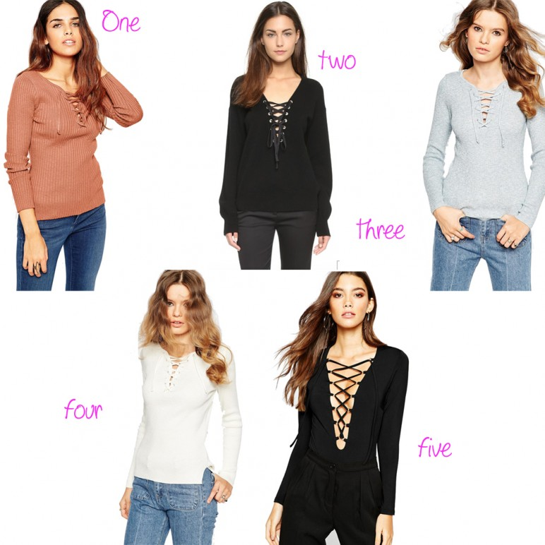 Shopping :  lace up sweater