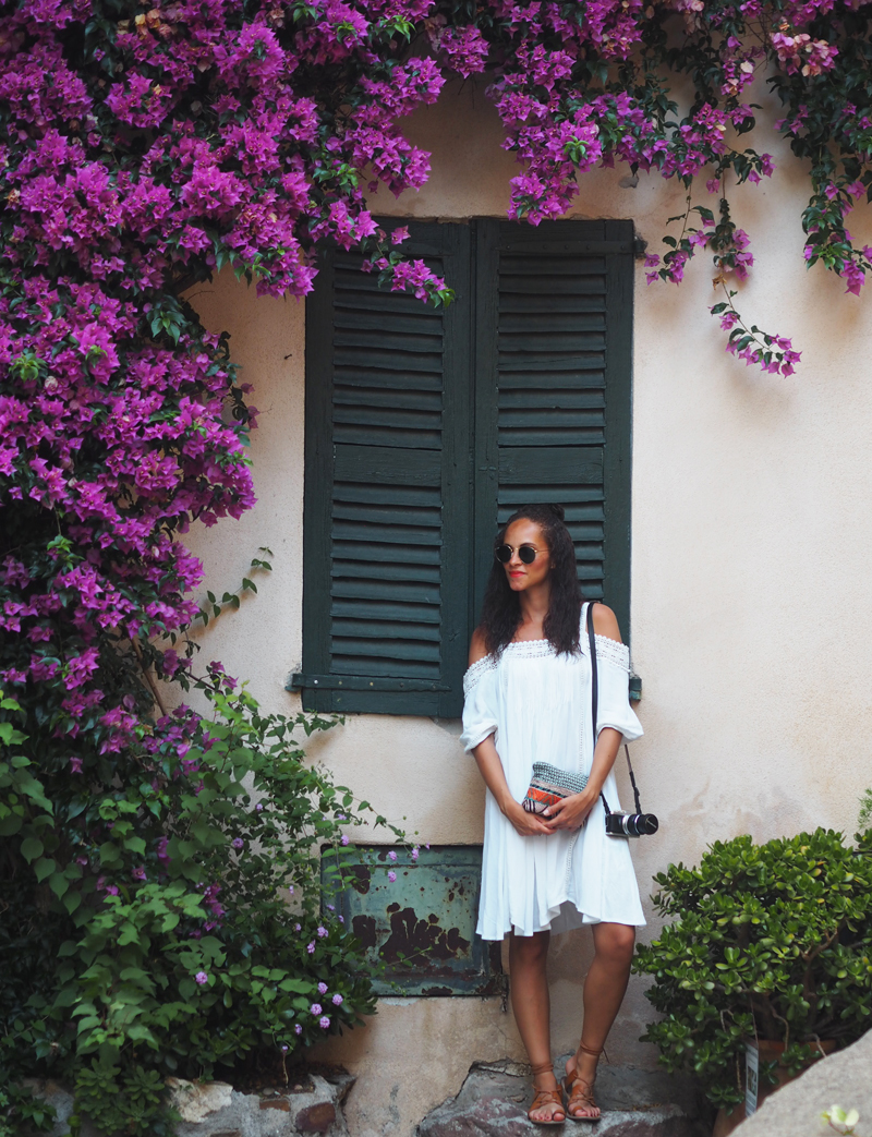 Outfit  – White bardot dress from Asos