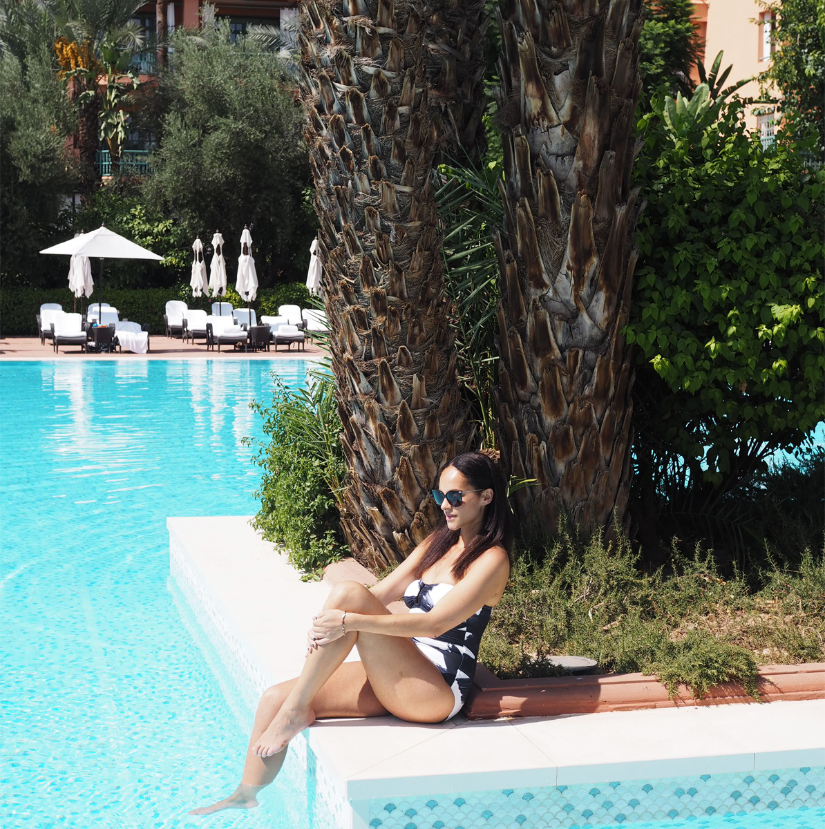 Poolside at La Mamounia, Marrakech – Eres paint swimsuit