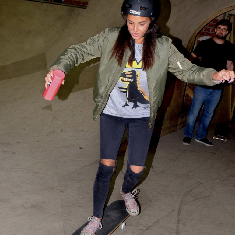 Skateboarding at the Ultimate Ears Boom 2 Event in Berlin