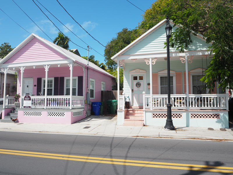 blue and pink houses Key West Florida