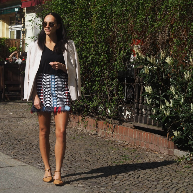 Custom made Sumissura blazer and Pinko ethnic pop skirt