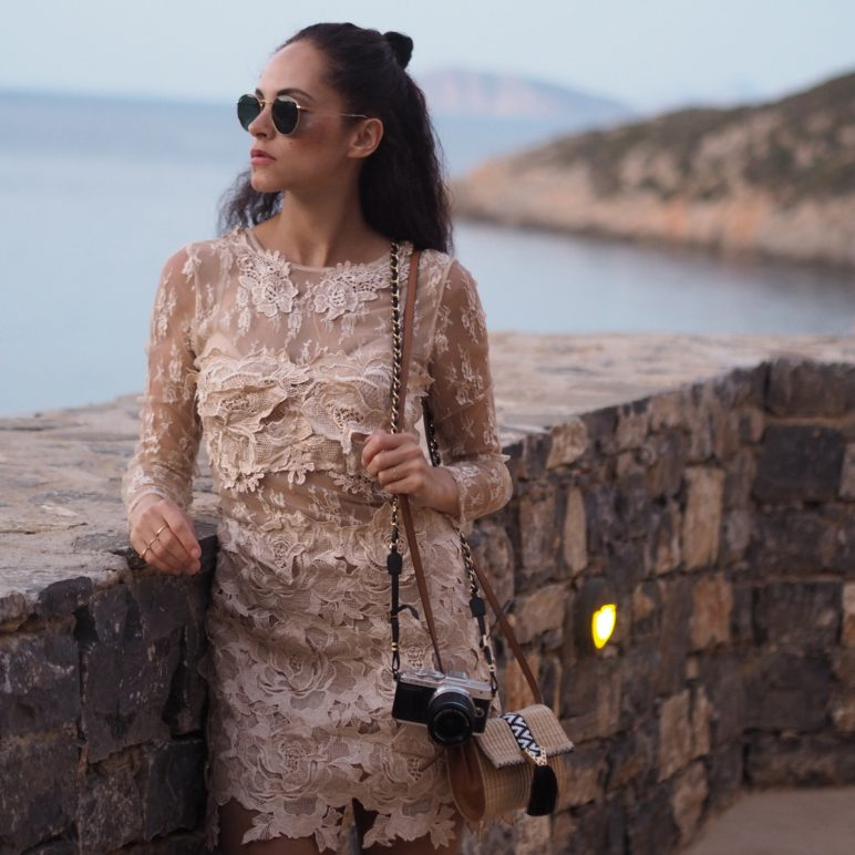 Summer outfit| Nude lace dress