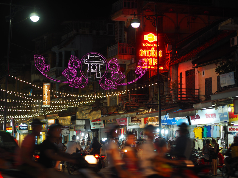 Pictures Hanoi old quarter night lights