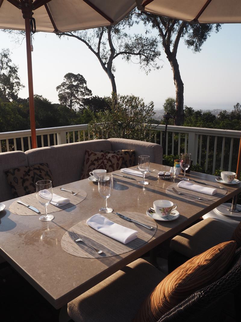 restaurant setting restaurant lifestyle blogger Bedroom at Belmond El Encanto in Santa Barbara