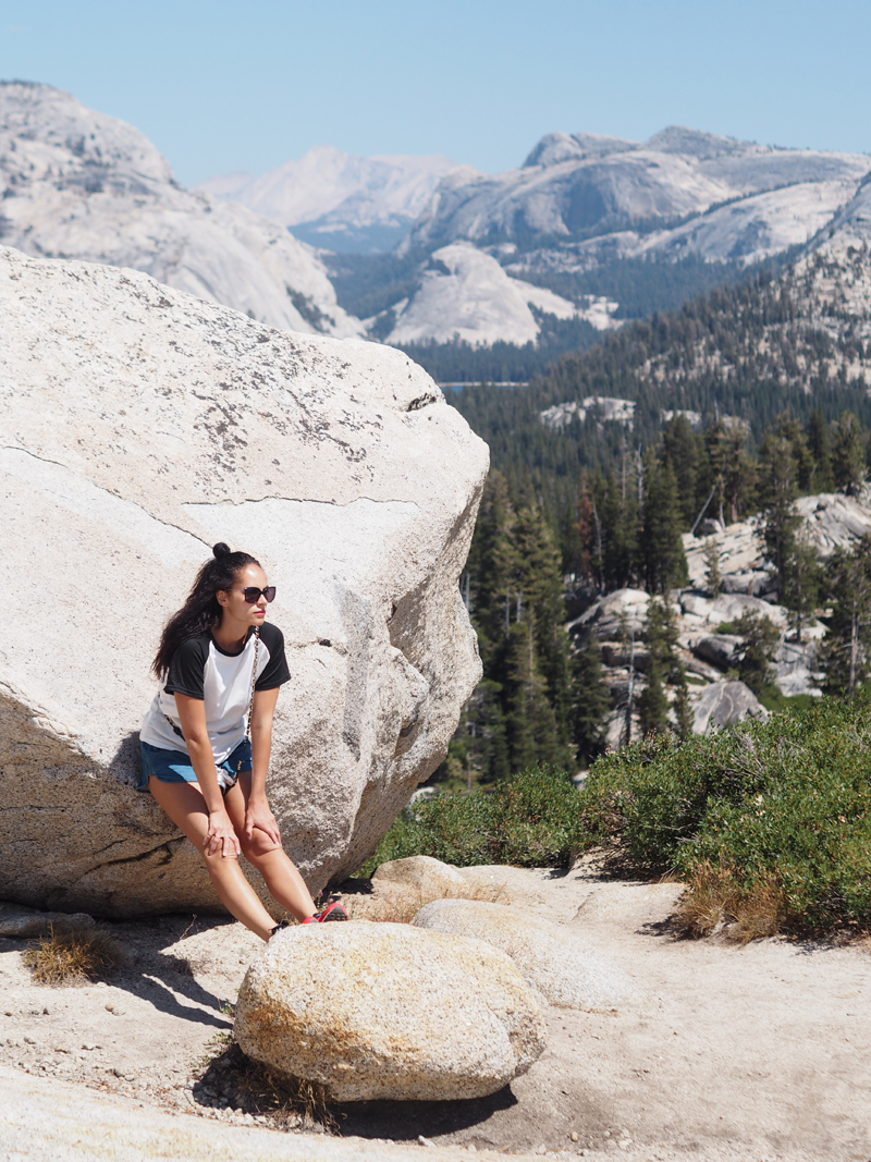 travel blogger at Olmstead point Yosemite California road trip