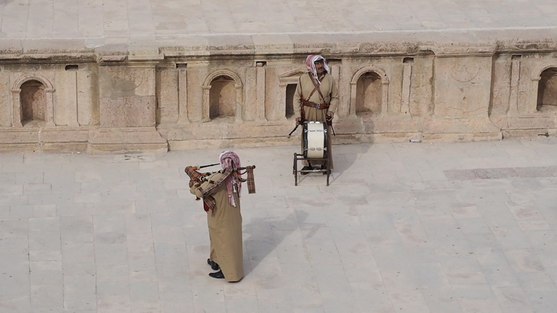 traditional music roman city Jerash Jordan