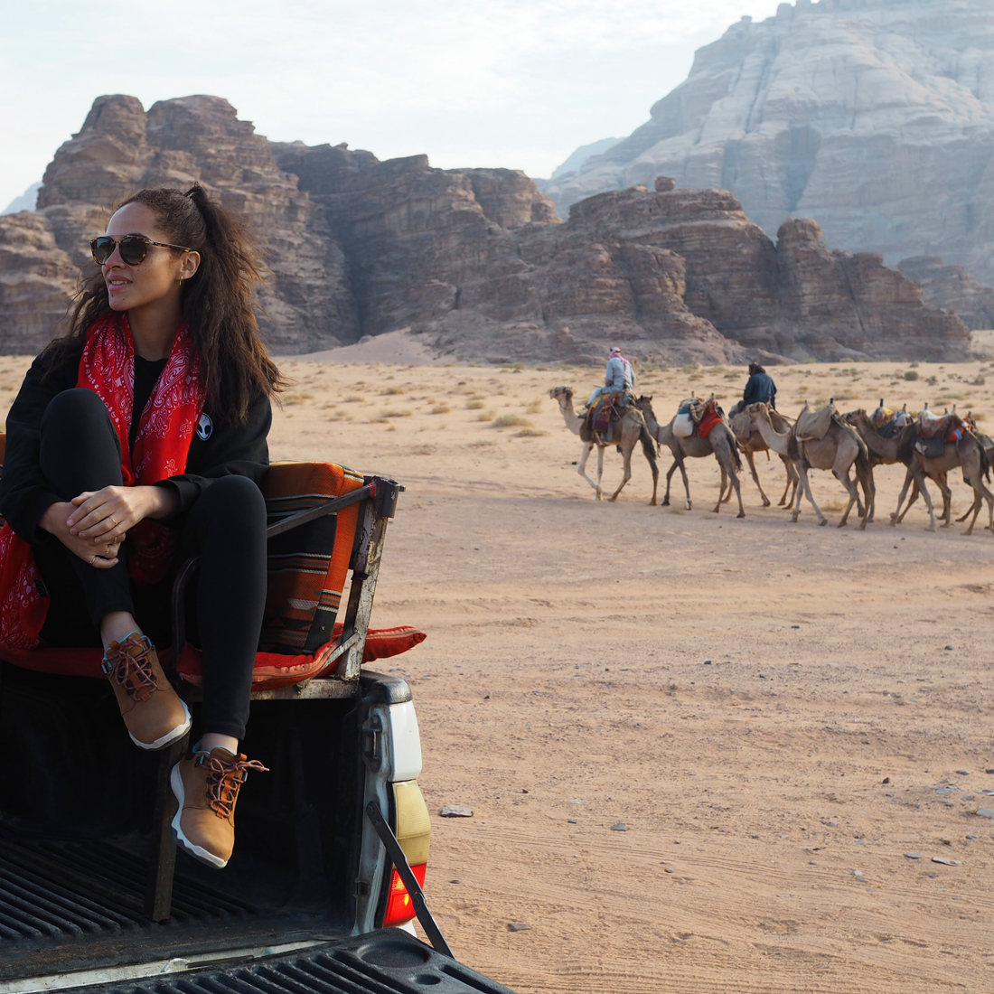 travel blogger in Wadi Rum Jordan