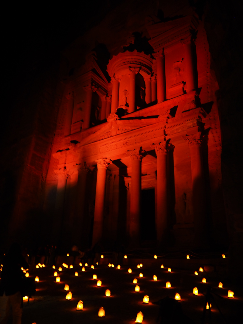traveling to Jordan petra by night