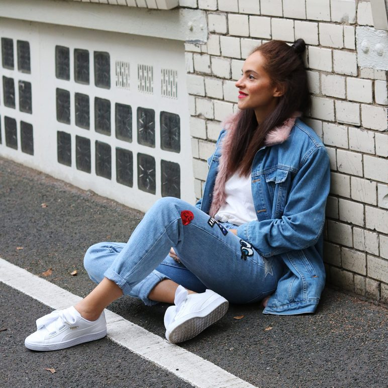 Fur lined denim jacket and patch jeans
