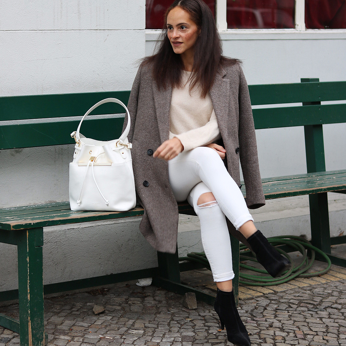 Bright winter outfit and Aldina Ted Baker bucket bag