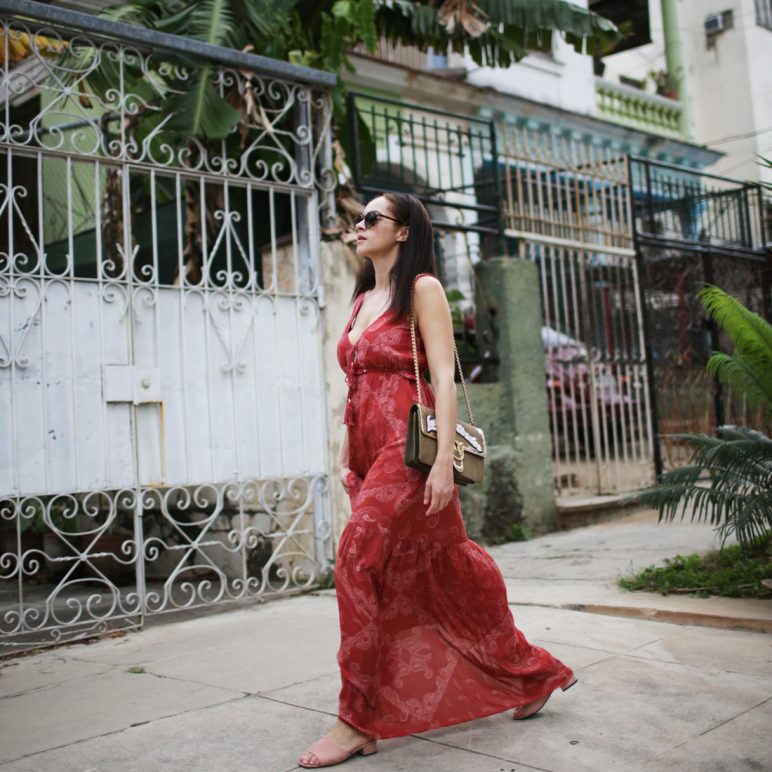 Pinko Love Me Tender bag and Guess red maxi dress
