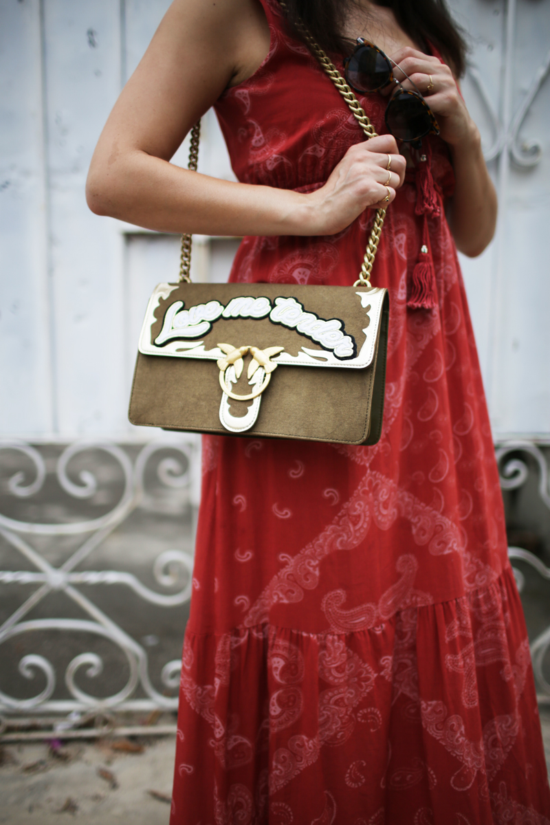 German fashion blogger outfit Pinko Love me Tender bag and Berlin Guess red maxi dress