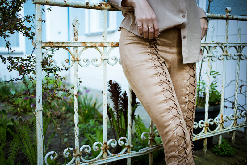 Nude blouse and lace up pants_mini
