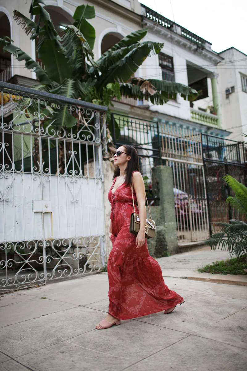 fashion blogger Germany Pinko Love me Tender bag and Berlin Guess red maxi dress