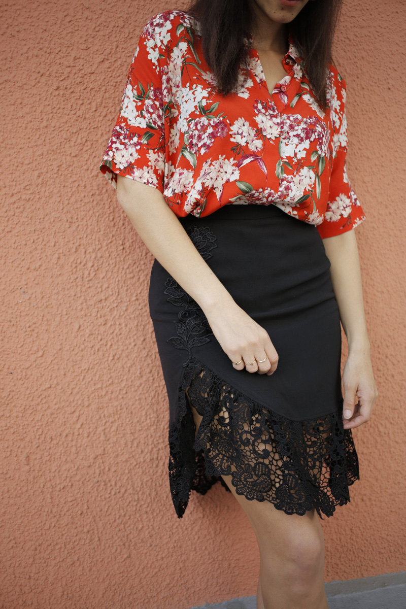 Oui blouse and black lace split midi skirt 1