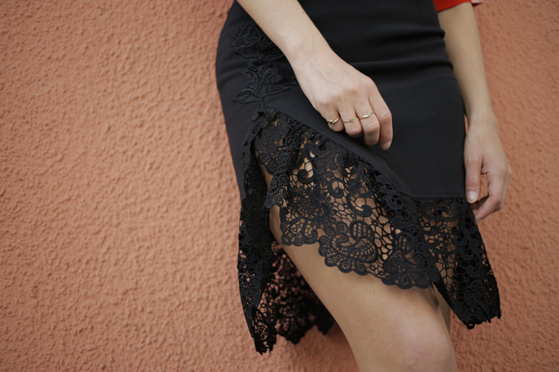 Oui blouse and black lace split midi skirt 2