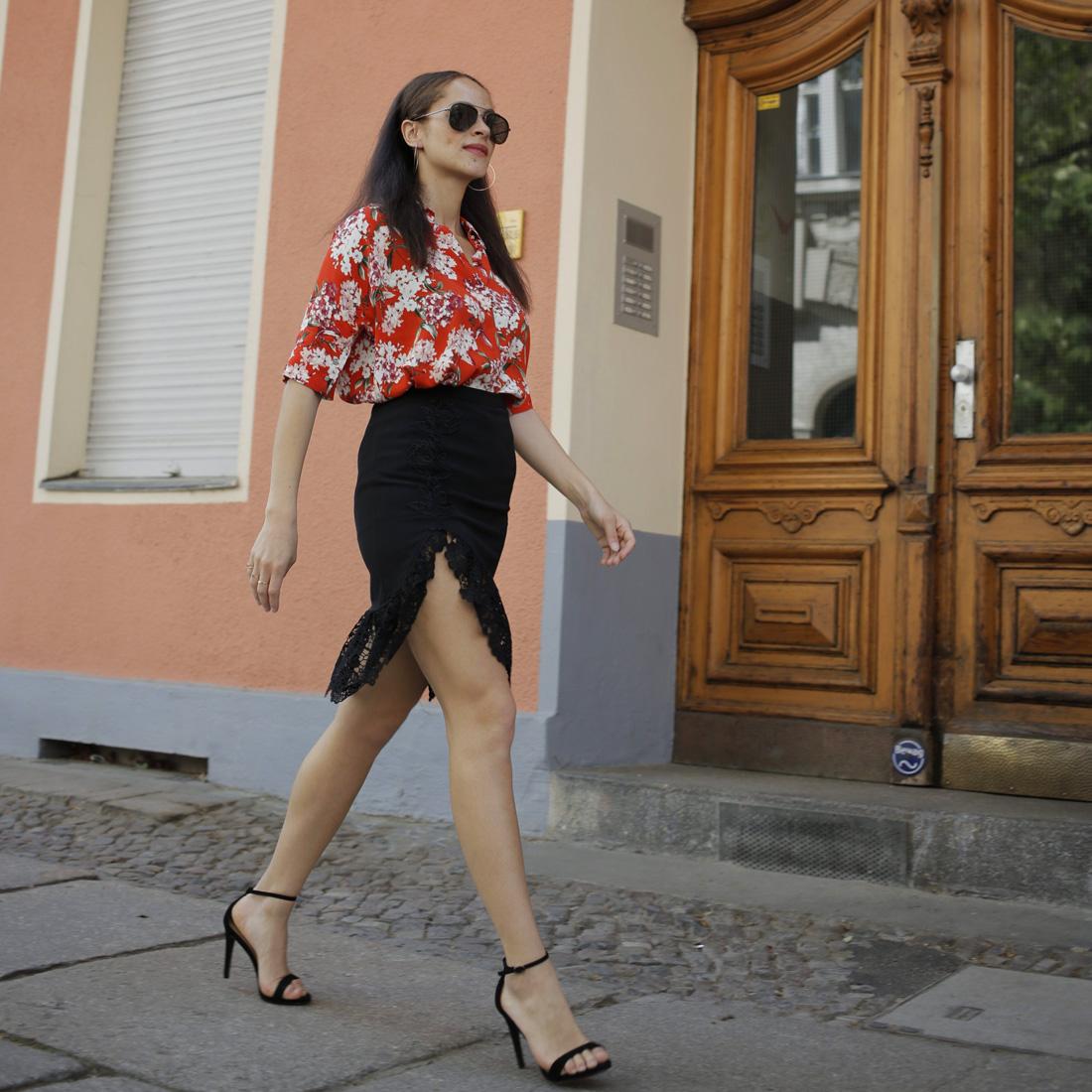 Oui blouse and black lace split midi skirt