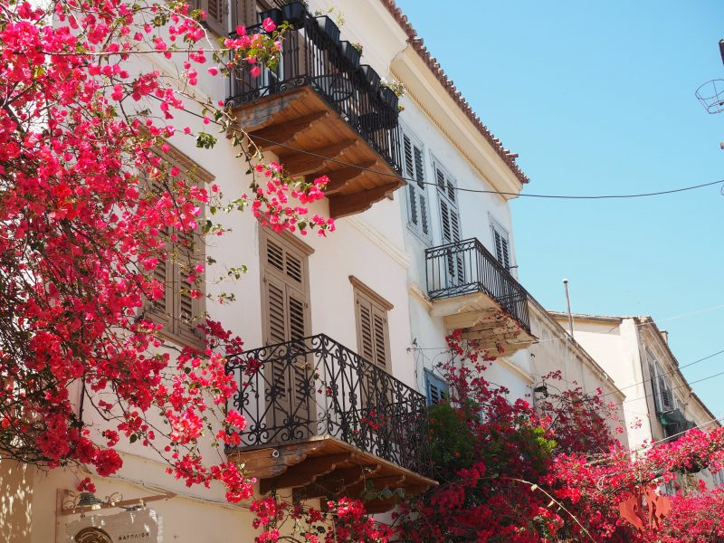 House flowers Nauplia Peloponnese Greece