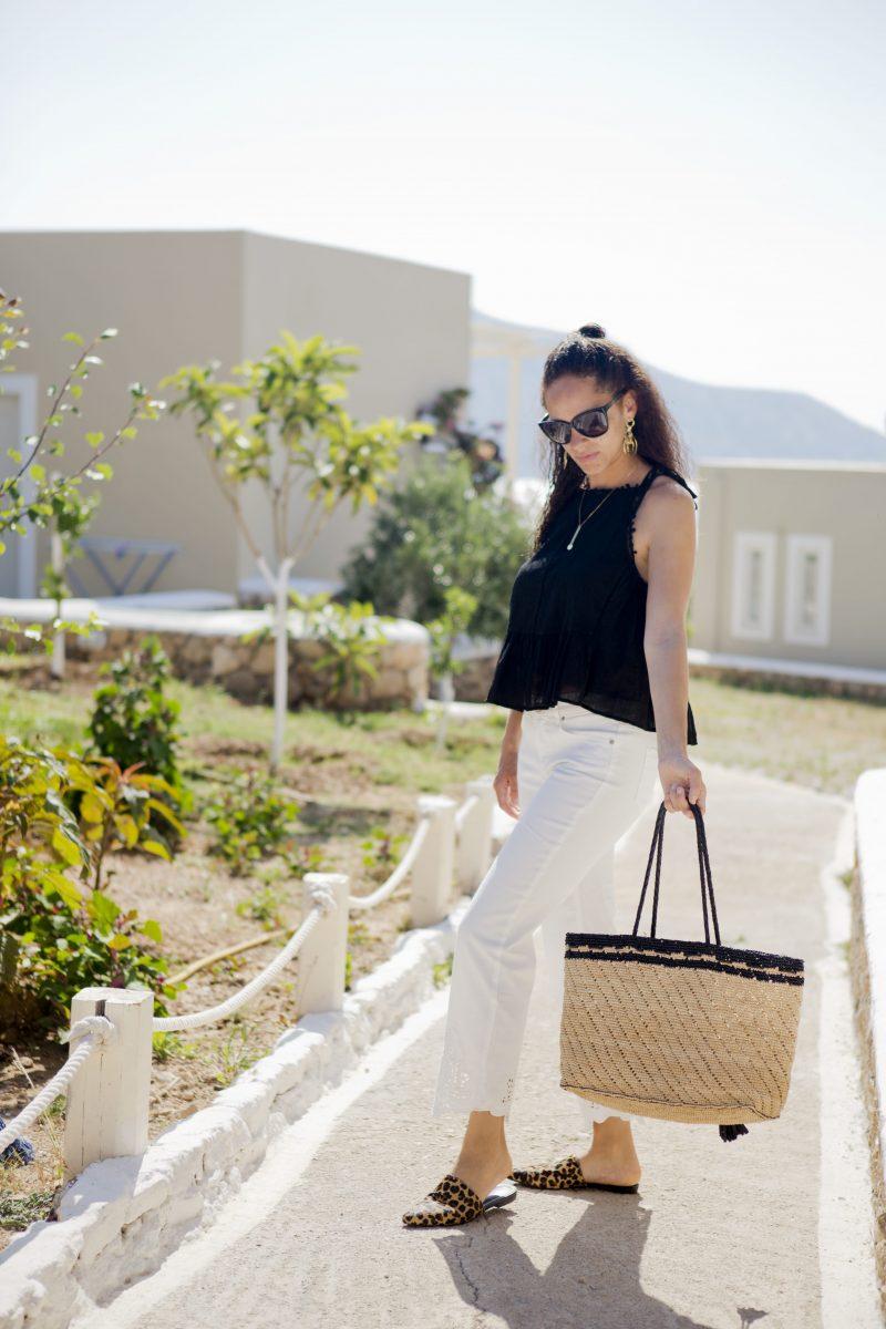 Streetstyle Oui fashion white jeans vagabond leopard mules-min