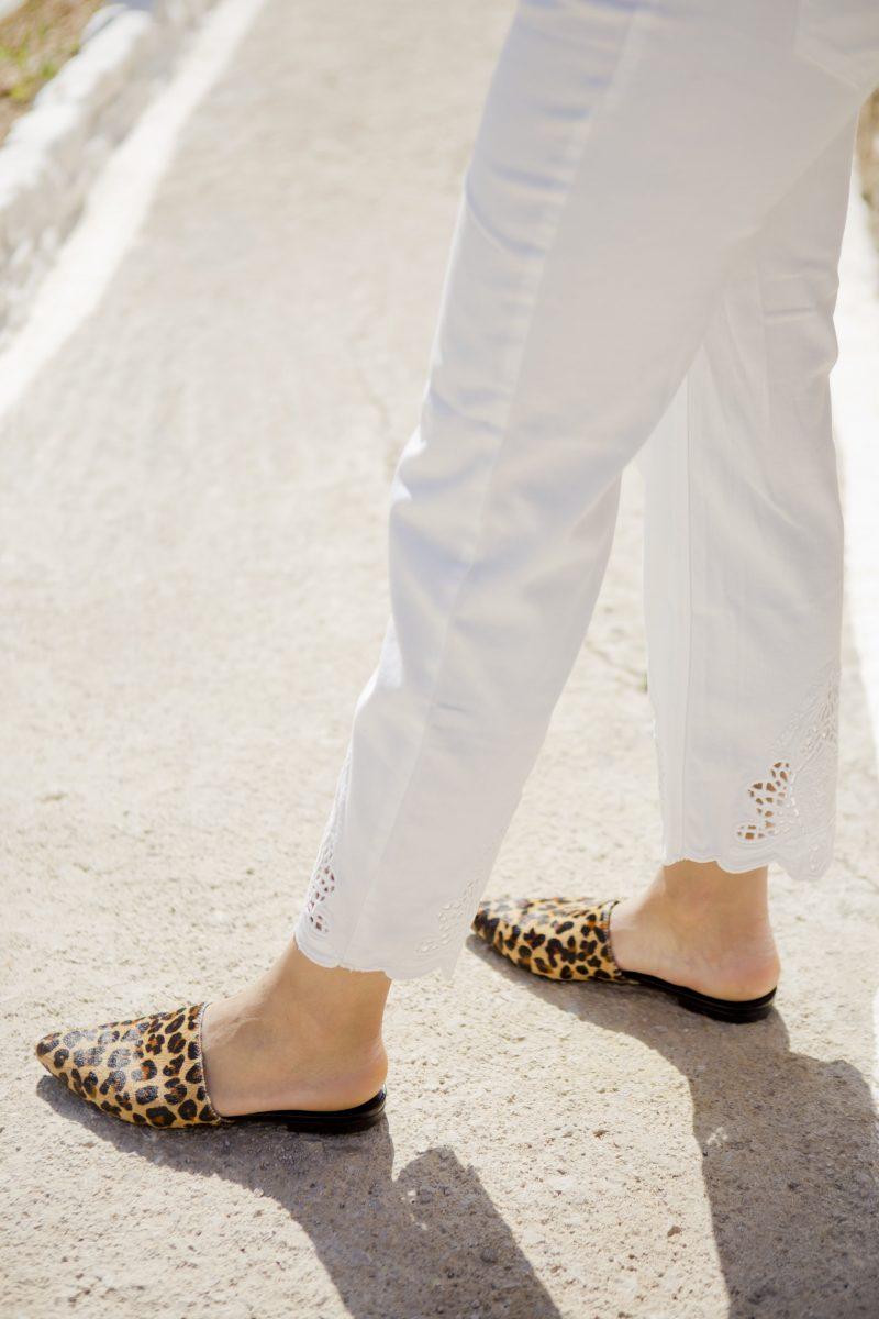 Oui fashion white jeans vagabond katlin leopard mules