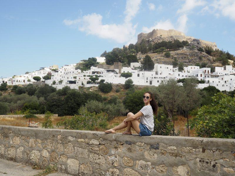 Travel blogger in Lindos Rhodos Greece