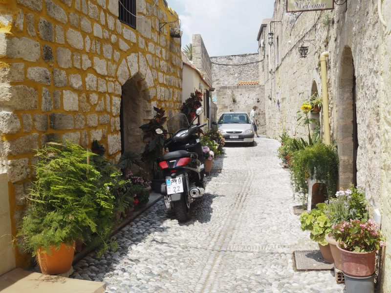 alleys main street old town of Rhodos Greece
